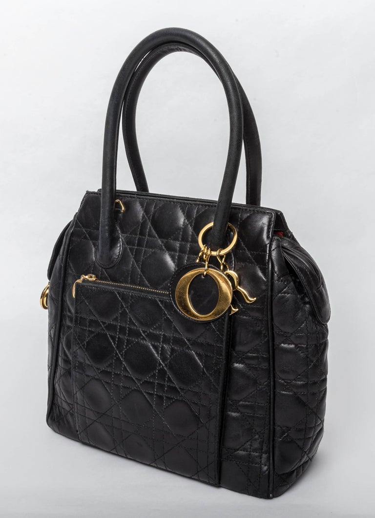Vintage Christian Dior Black Lambskin Cannage With Double Handles In Good Condition For Sale In Westhampton Beach, NY