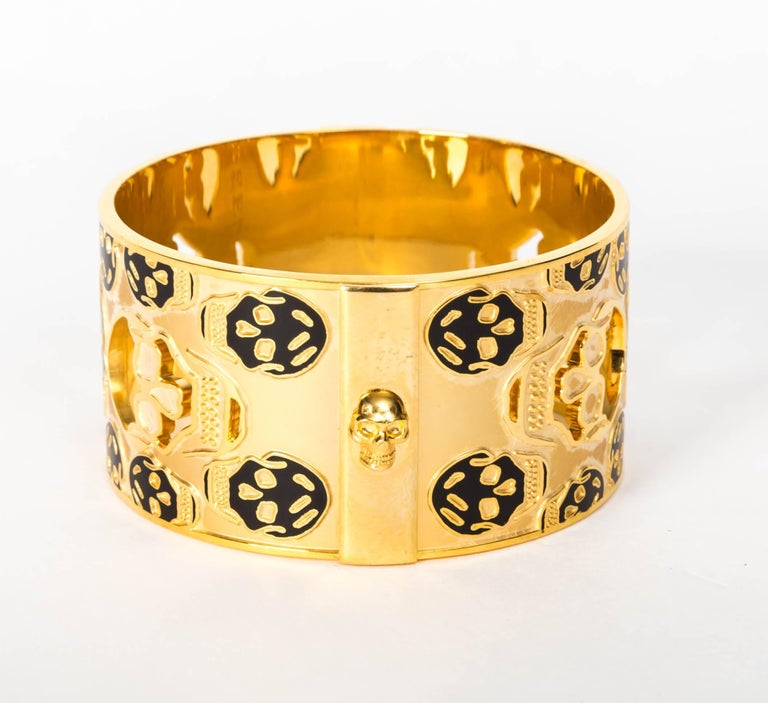 Alexander McQueen Gold Metal Skull Cuff / Bracelet In As New Condition For Sale In Westhampton Beach, NY