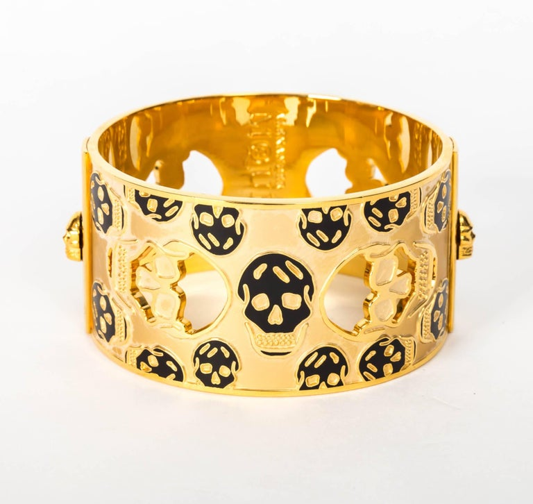 Women's or Men's Alexander McQueen Gold Metal Skull Cuff / Bracelet For Sale