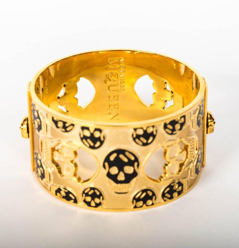 Alexander McQueen Gold Metal Skull Cuff / Bracelet For Sale 1