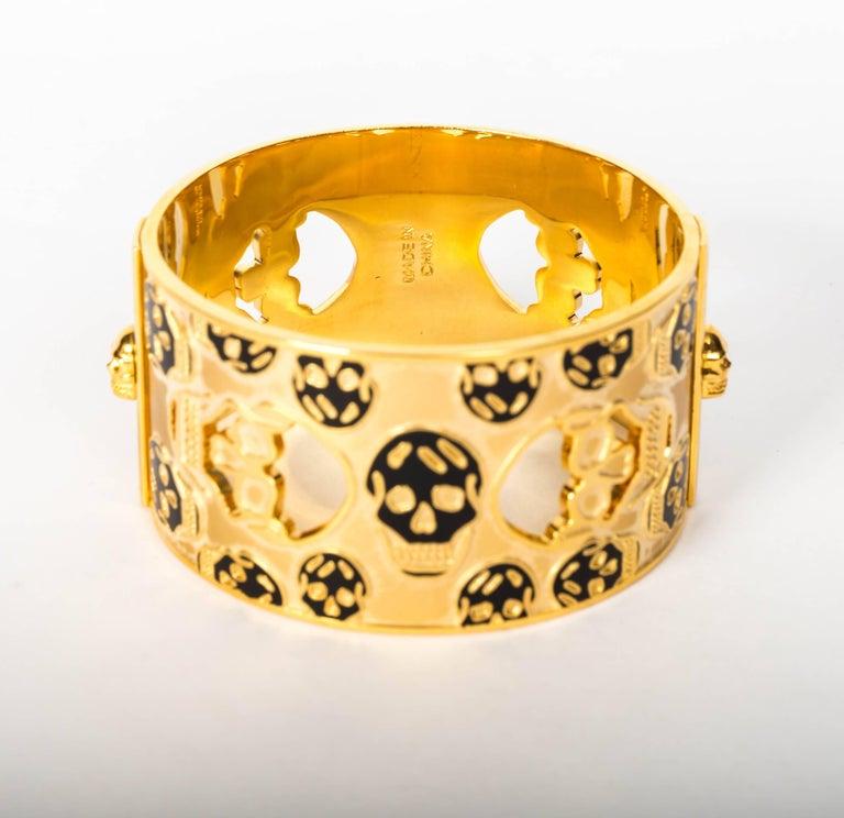 Alexander McQueen Gold Metal Skull Cuff / Bracelet For Sale 2