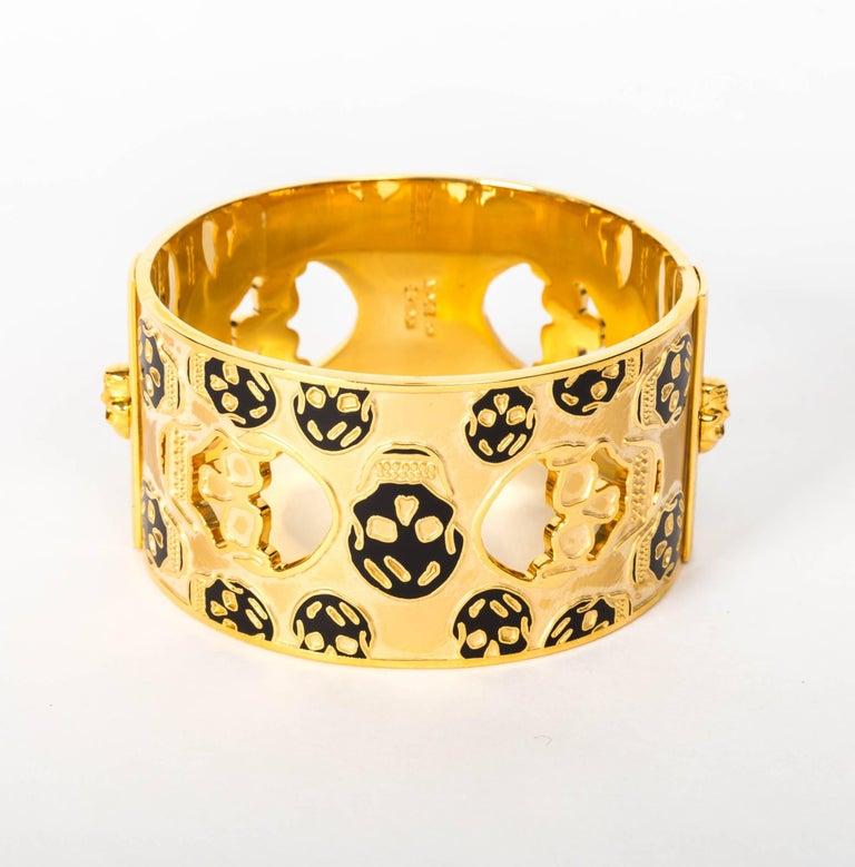 Alexander McQueen Gold Metal Skull Cuff / Bracelet For Sale 3