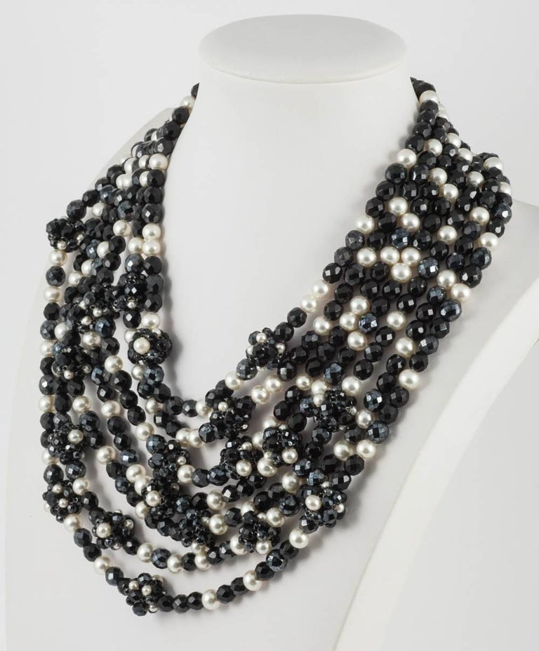 Coppola e Toppo Italy Black bead and pearl multi row necklace, 1960s In Excellent Condition For Sale In London, GB