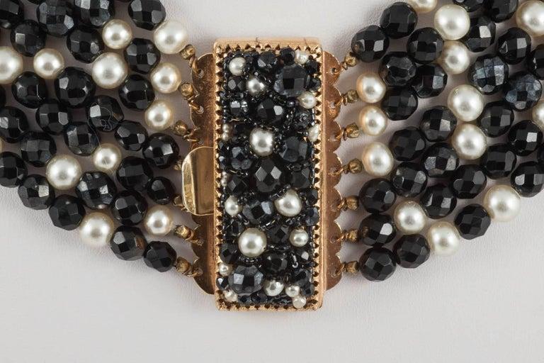 Women's Coppola e Toppo Italy Black bead and pearl multi row necklace, 1960s For Sale