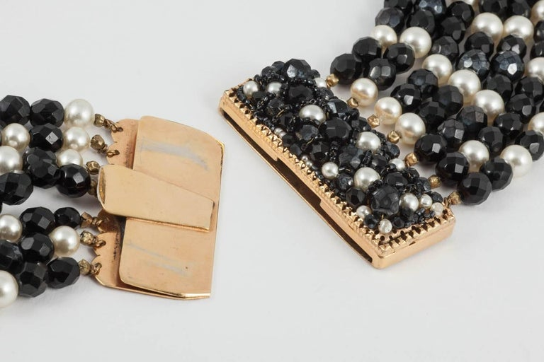 Coppola e Toppo Italy Black bead and pearl multi row necklace, 1960s For Sale 1