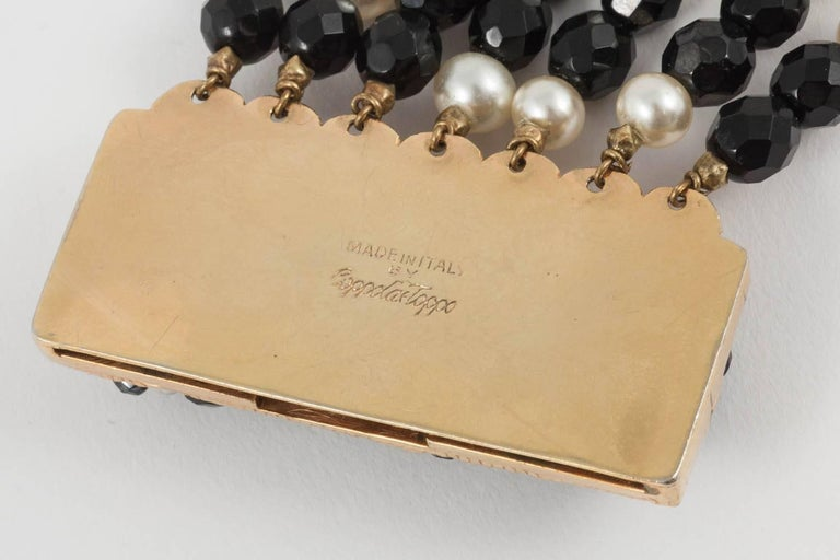 Coppola e Toppo Italy Black bead and pearl multi row necklace, 1960s For Sale 2
