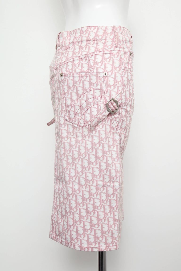 John Galliano for Christian Dior Pink Trotter Logo Pencil Skirt For Sale 1