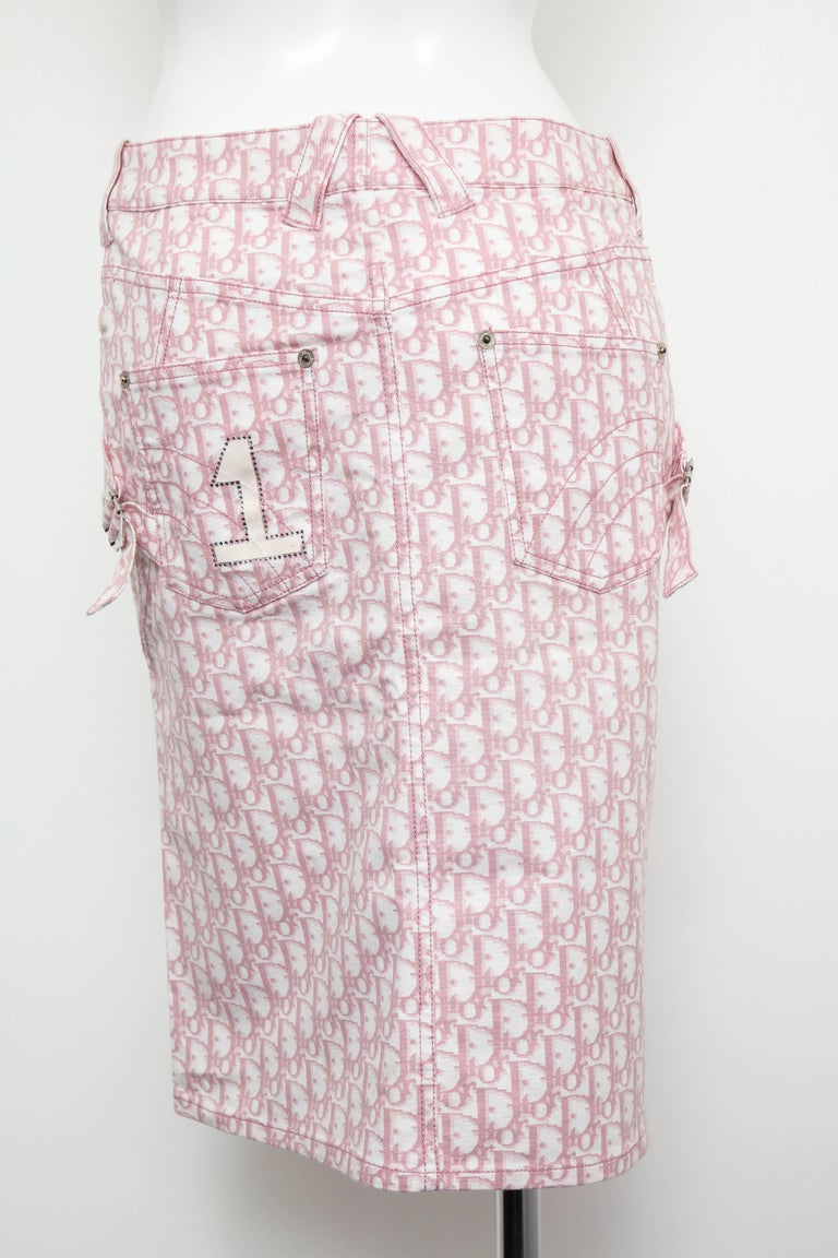 John Galliano for Christian Dior Pink Trotter Logo Pencil Skirt For Sale 2