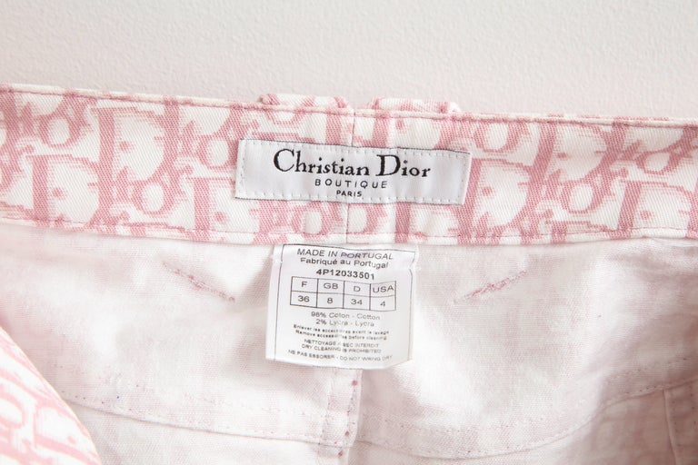 John Galliano for Christian Dior Pink Trotter Logo Pencil Skirt For Sale 5