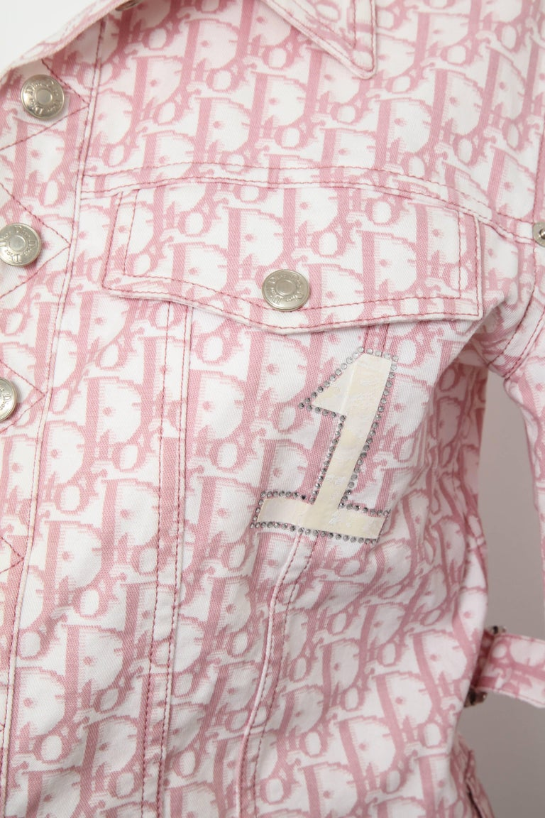 Very rare John Galliano for Christian Dior pink trotter logo denim jacket. French size 38