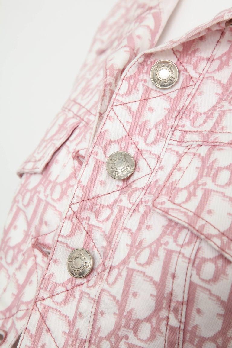 Beige John Galliano for Christian Dior Pink Trotter Logo Denim Jacket