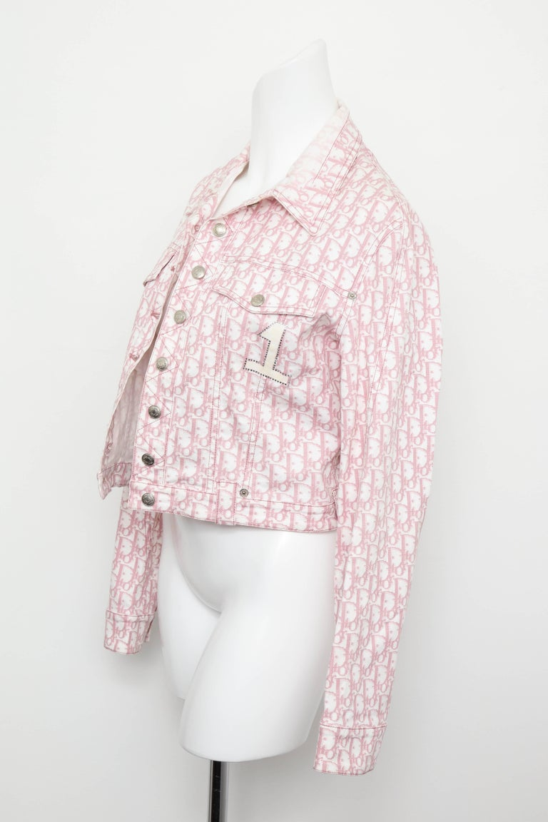 John Galliano for Christian Dior Pink Trotter Logo Denim Jacket In Excellent Condition In Chicago, IL