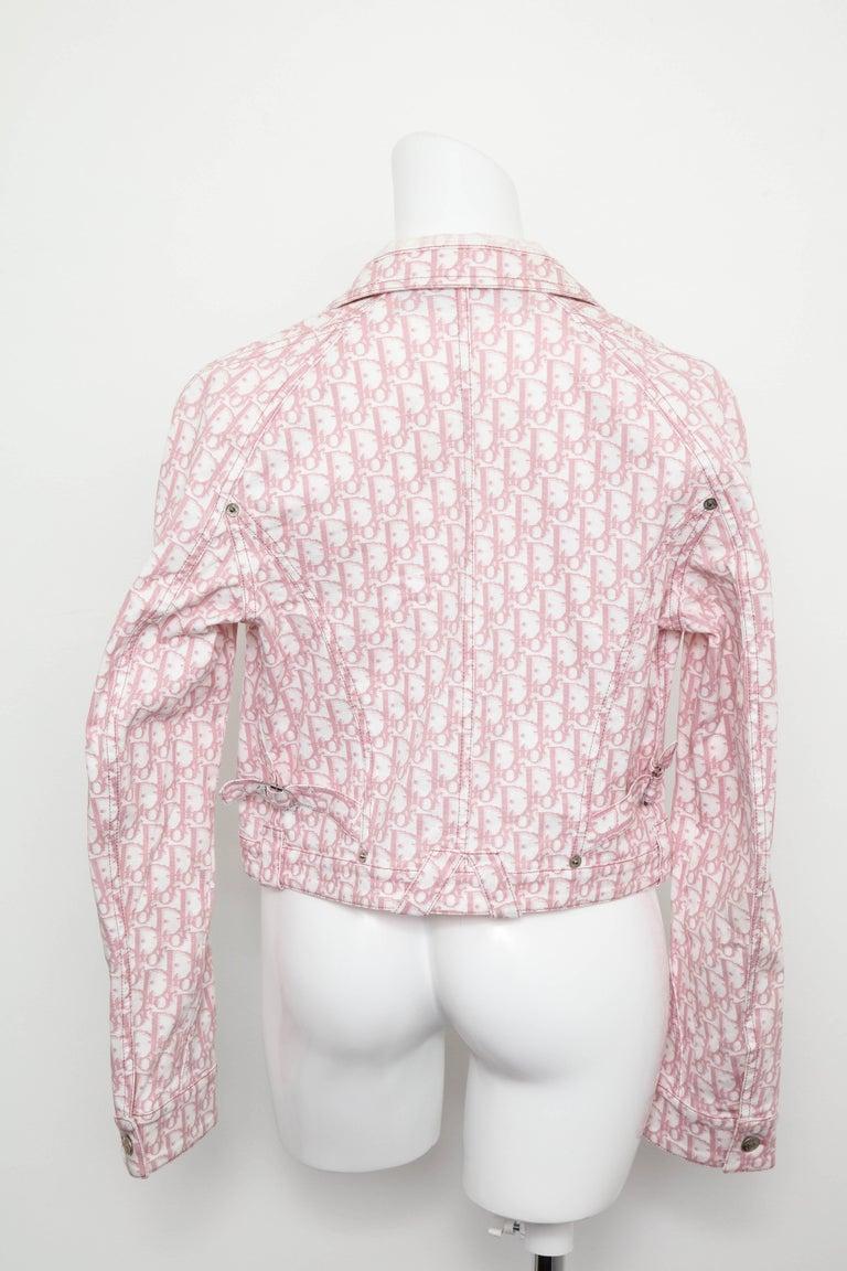 Women's John Galliano for Christian Dior Pink Trotter Logo Denim Jacket