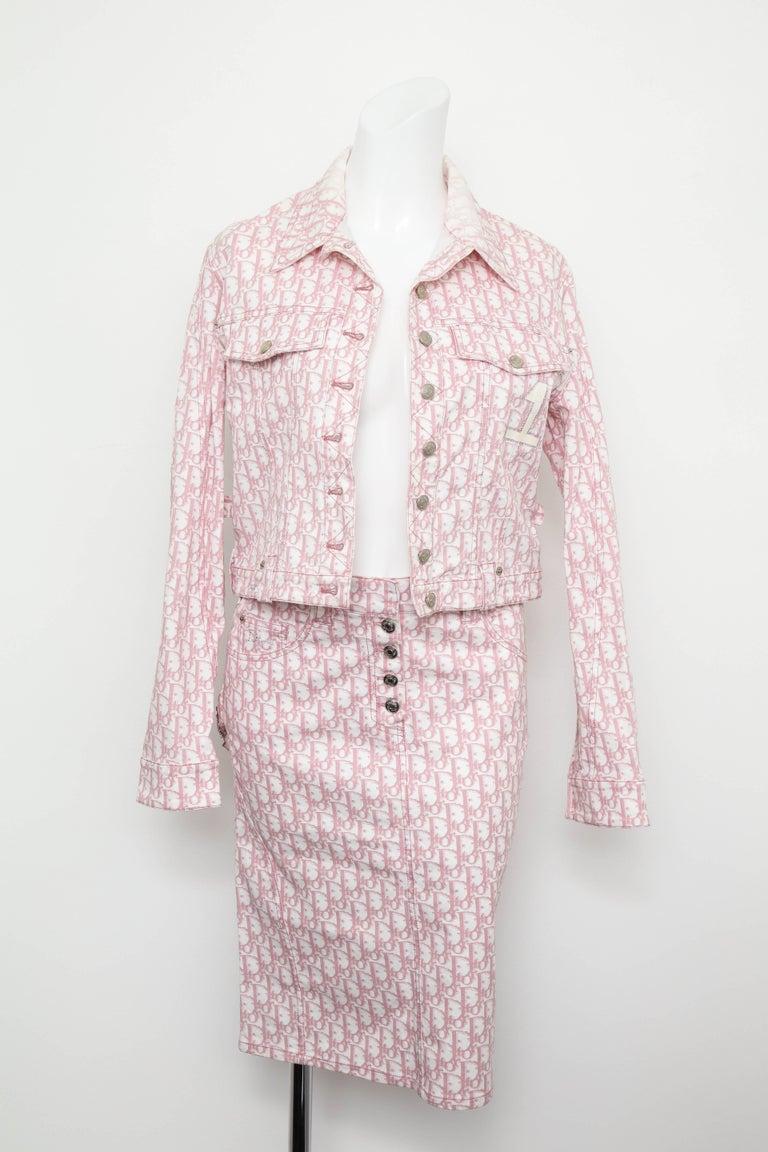 John Galliano for Christian Dior Pink Trotter Logo Denim Jacket 4