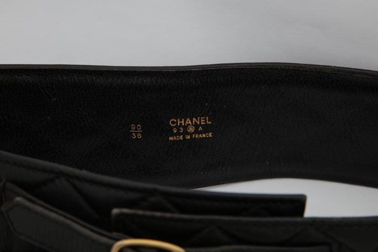 Black Rare Vintage Chanel Gun Motif Leather Belt For Sale