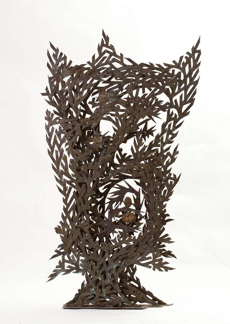 """Cast and hand-collaged sculpture of phosphor bronze and silver by Richard Filipowski (1923-2008), executed, circa 1960-1965. Titled """"Three Waves."""" Unsigned, with a certificate of authenticity from the Filipowski Trust."""