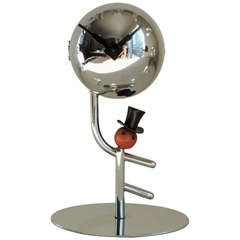 German Art Deco Chrome Figural Mechanical Ball Clock with Bakelite and Black Enamel Accents