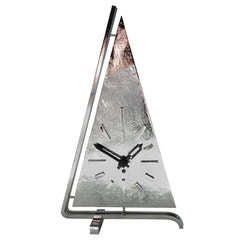 German Chrome Plated and Black Enamel Art Deco Figural Abstract Yacht  Mechanical Table Clock