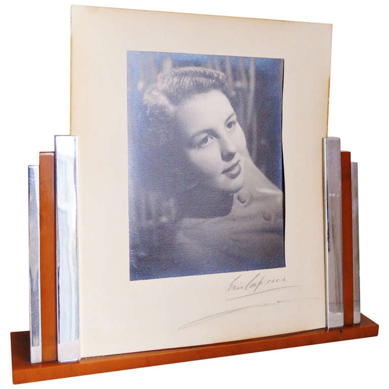 Very Large English Art Deco Picture Frame In Chrome And Butterscotch
