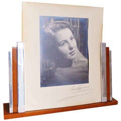 Very Large English Art Deco Picture Frame in Chrome and Butterscotch Bakelite.