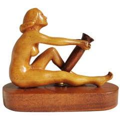 American Carved Wooden Outsider Art Nude Figurative Desktop Pen Holder
