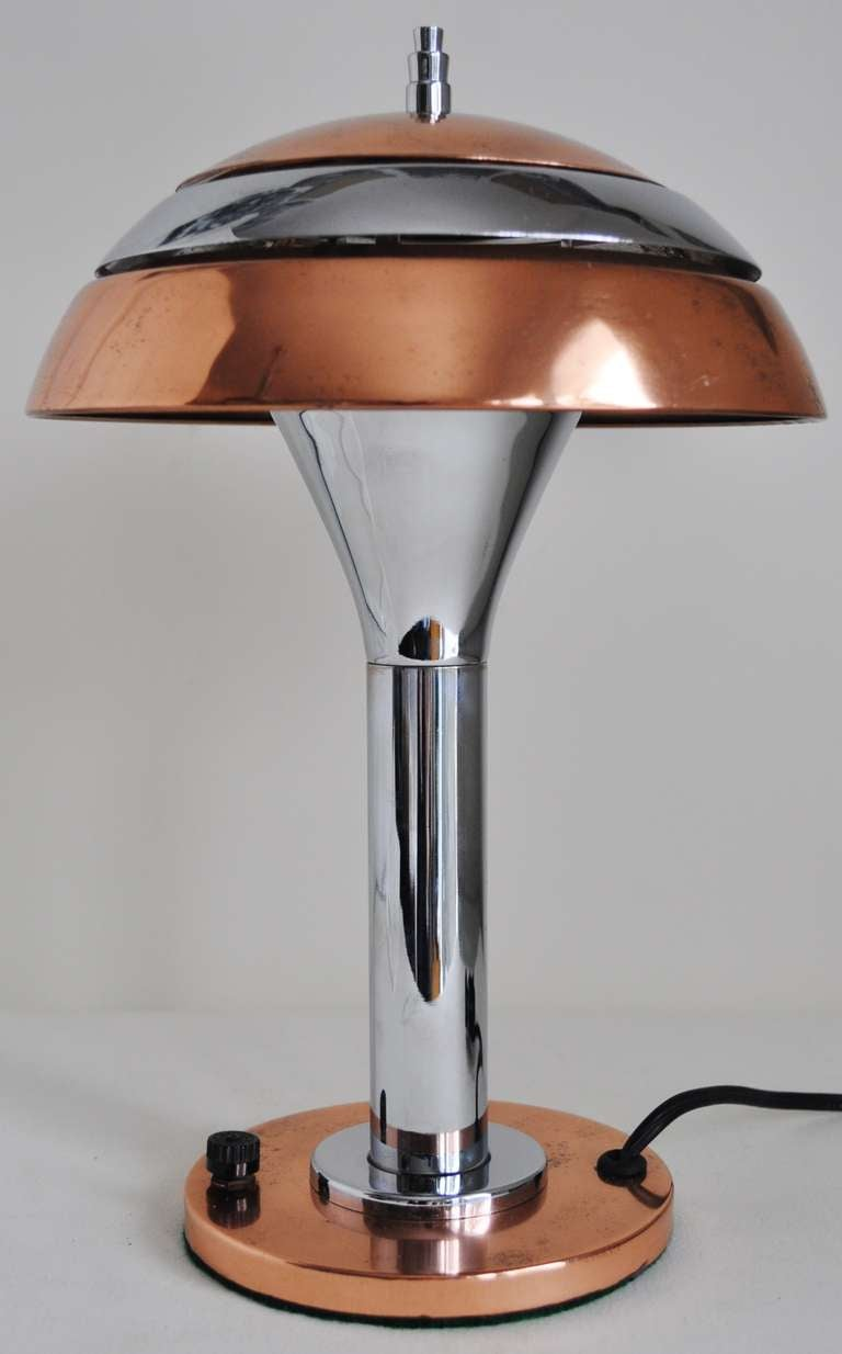This american art nouveau table lamp is no longer available - American Art Deco Small Chrome And Copper Plated Table Lamp With Striated Segmented Shade