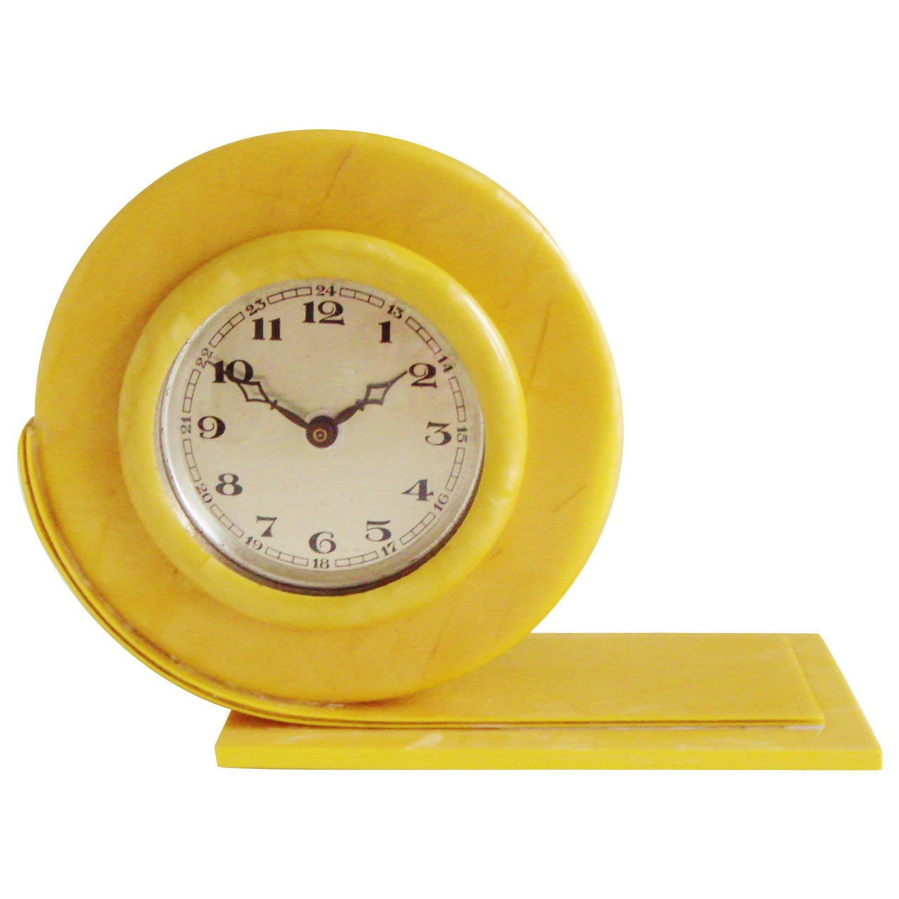 Tiny Perfect English Art Deco Pearlescent Yellow Celluloid Shelf Clock
