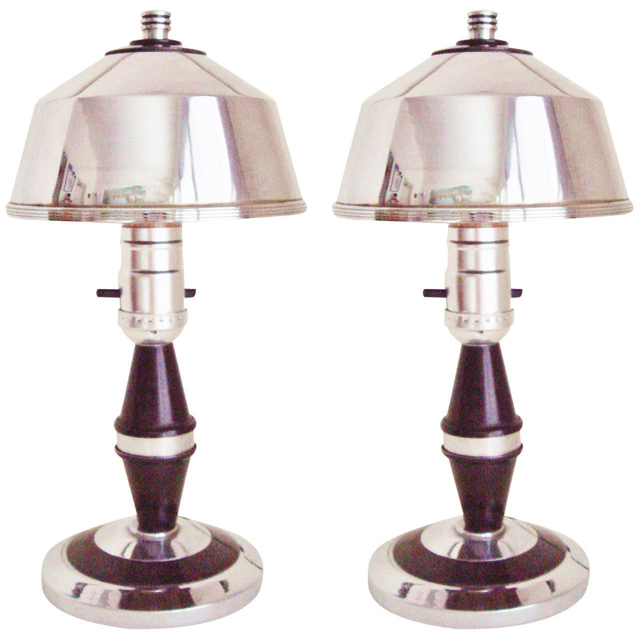 Rare Pair of American Art Deco or Machine Age Chrome and Black Boudoir Lamps For Sale