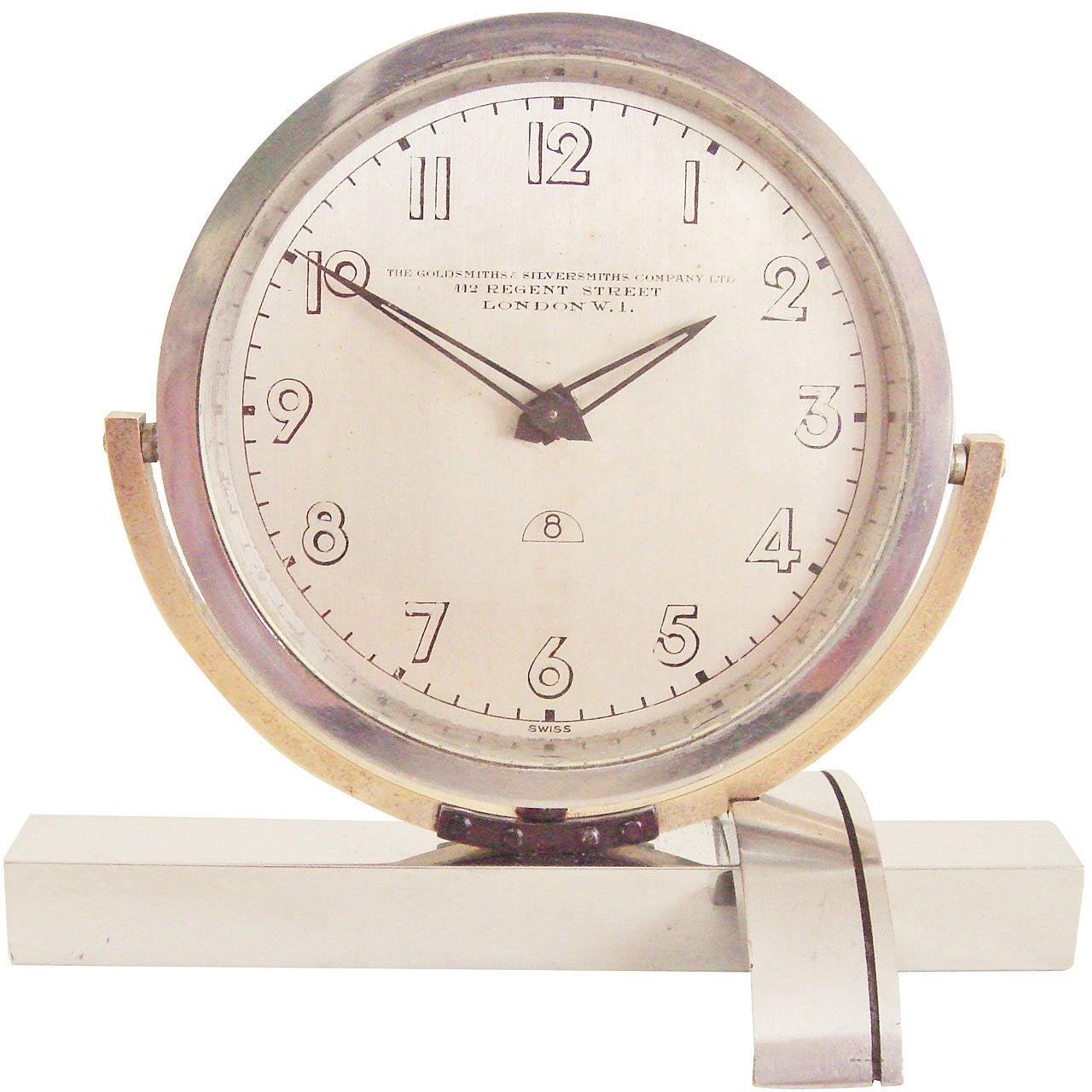 English Art Deco Asymmetrical Chrome and Brass, Mechanical Tilt Shelf Clock