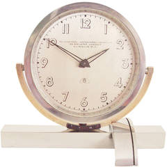 English Art Deco Asymmetrical Chrome and Brass, Mechanical Tilt Shelf Clock