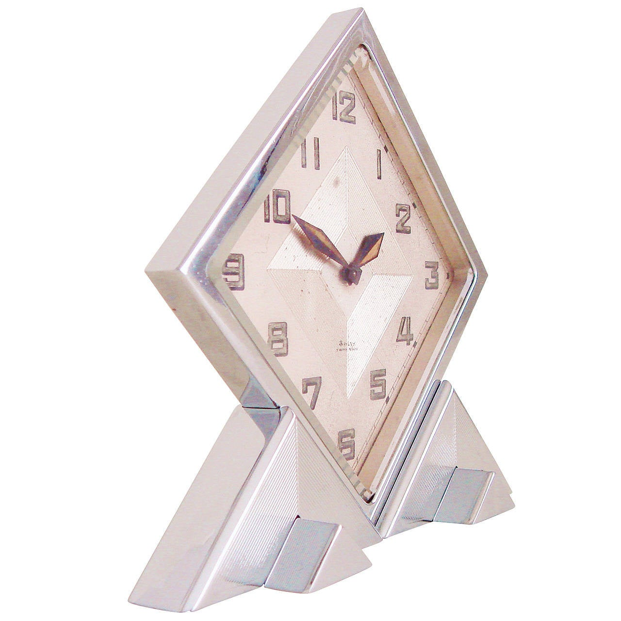 Rare Swiss Export Extreme Geometric Chrome 8-Day Mechanical Shelf Clock