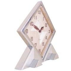 Rare Swiss Export Extreme Geometric Chrome 8-Day Mechanical Shelf Clock