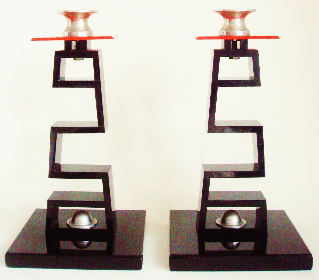 Cast Pair of Large American Asian Inspired Candlesticks in the Manner of James Mont For Sale