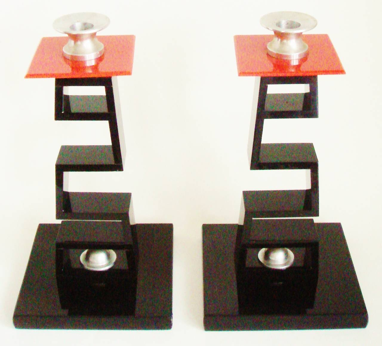 Hollywood Regency Pair of Large American Asian Inspired Candlesticks in the Manner of James Mont For Sale