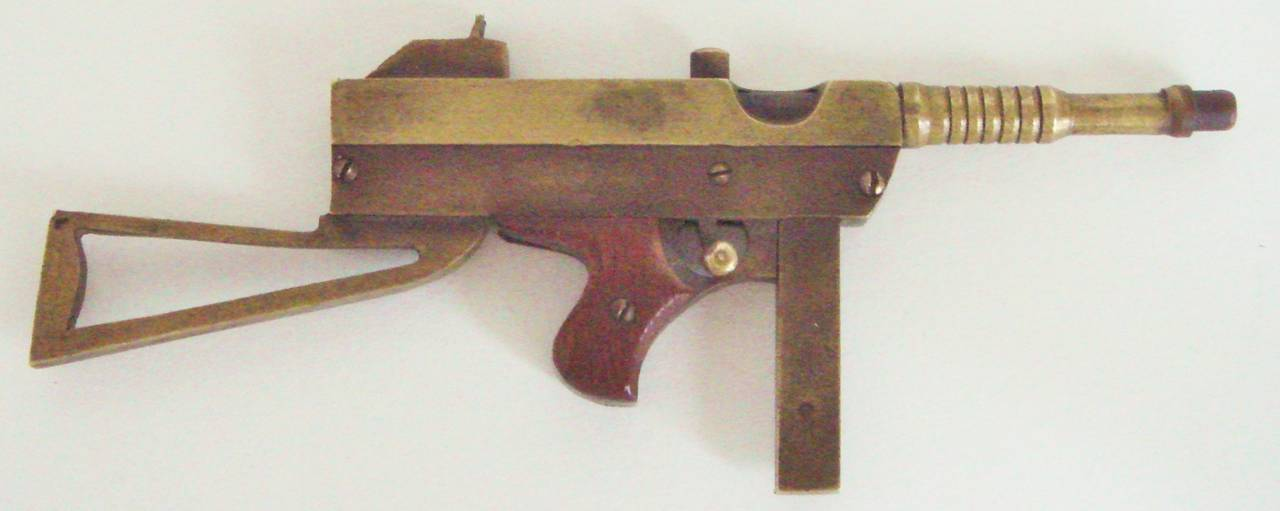 Outsider Art Exquisite Trench Art Miniature Brass and Wood Thomson M1928A Sub Machine Gun For Sale