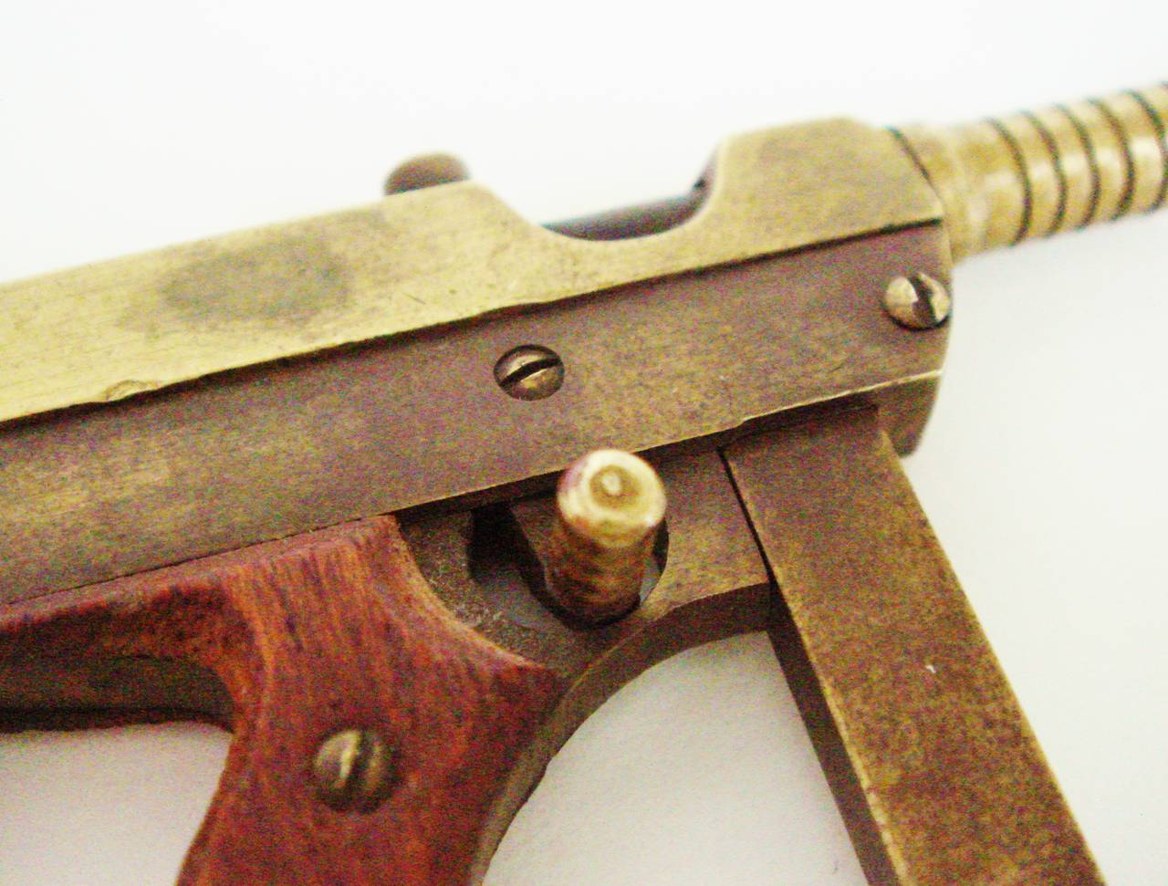 Carved Exquisite Trench Art Miniature Brass and Wood Thomson M1928A Sub Machine Gun For Sale