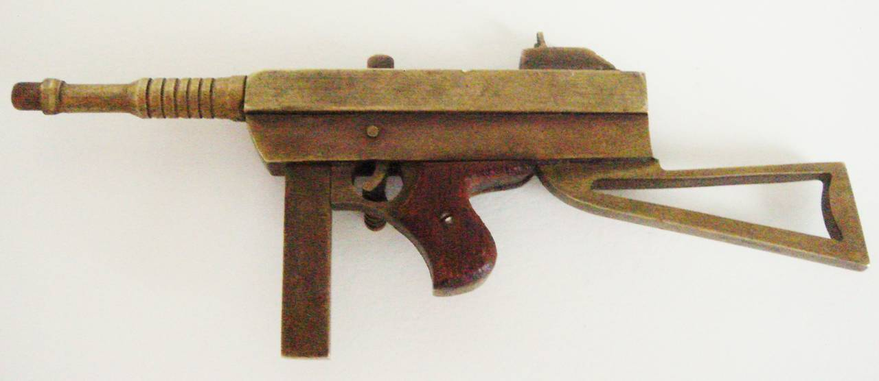 American Exquisite Trench Art Miniature Brass and Wood Thomson M1928A Sub Machine Gun For Sale