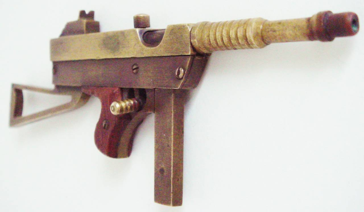 Mid-20th Century Exquisite Trench Art Miniature Brass and Wood Thomson M1928A Sub Machine Gun For Sale