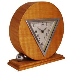 German Art Deco Chrome and Striped Blonde Veneer Mechanical Table Clock