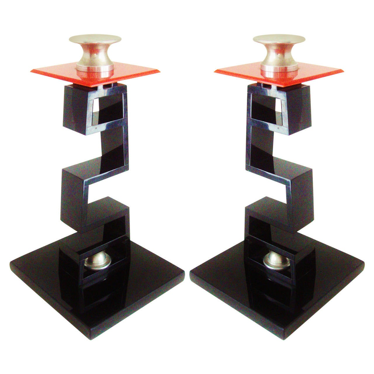 Pair of Large American Asian Inspired Candlesticks in the Manner of James Mont For Sale