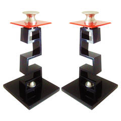 Pair of Large American Asian Inspired Candlesticks in the Manner of James Mont