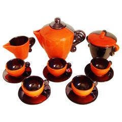 French Mid-Century Modern Eight-Piece Coffee Service by Lucchesi for Vallauris
