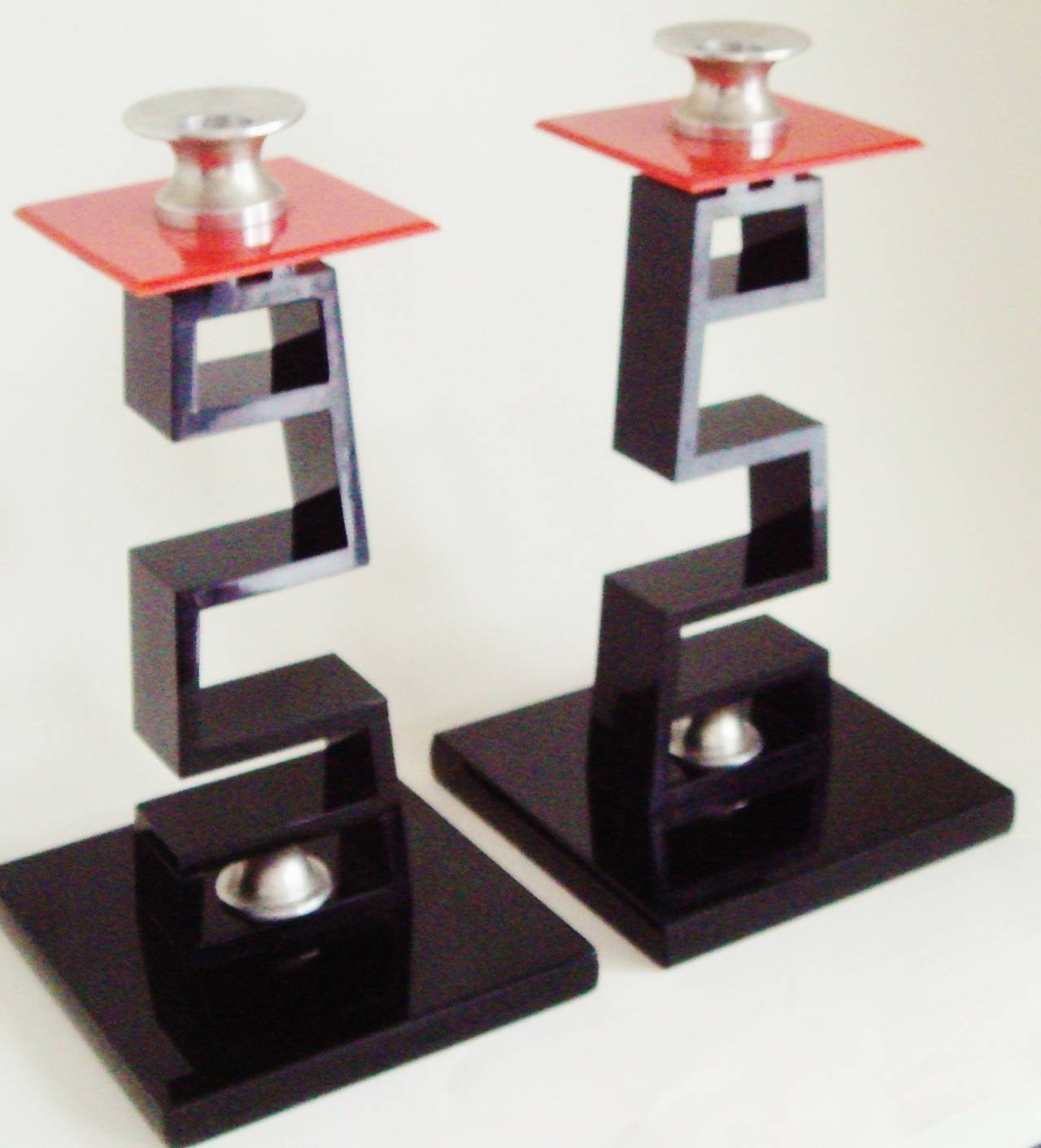Pair of Large American Asian Inspired Candlesticks in the Manner of James Mont For Sale 2
