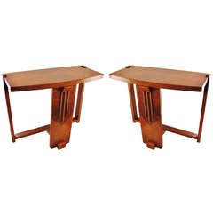 Pair of American Art Deco Polychrome Geometric Veneer Three Legged Sofa End Tables