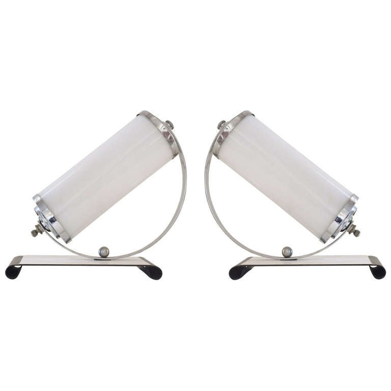 Pair of American Art Deco Angled Chrome and Milk Glass Boudoir or Table Lamps.
