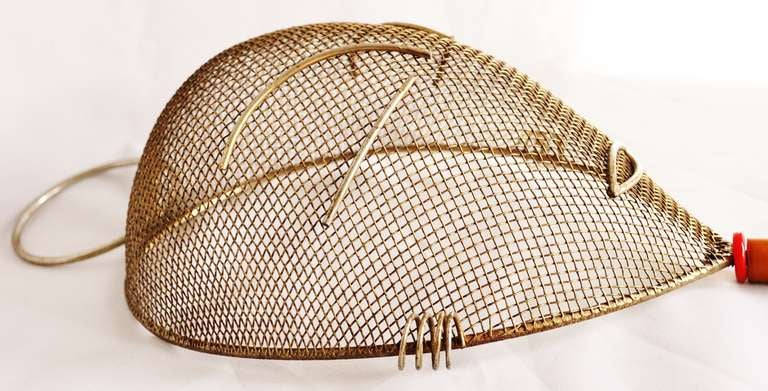Mid-20th Century American Mid-Century Wire Wall Mask with Two-Tone Bakelite/Catalin Handle by Frederick Weinberg For Sale
