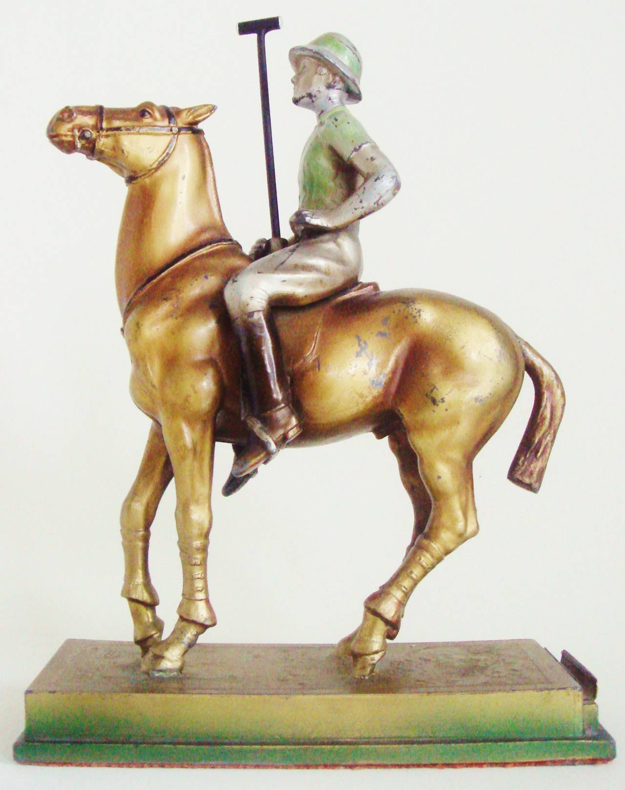 Mid-20th Century Rare Austrian Art Deco Cold Painted Spelter Polo Player Table Striker Lighter For Sale