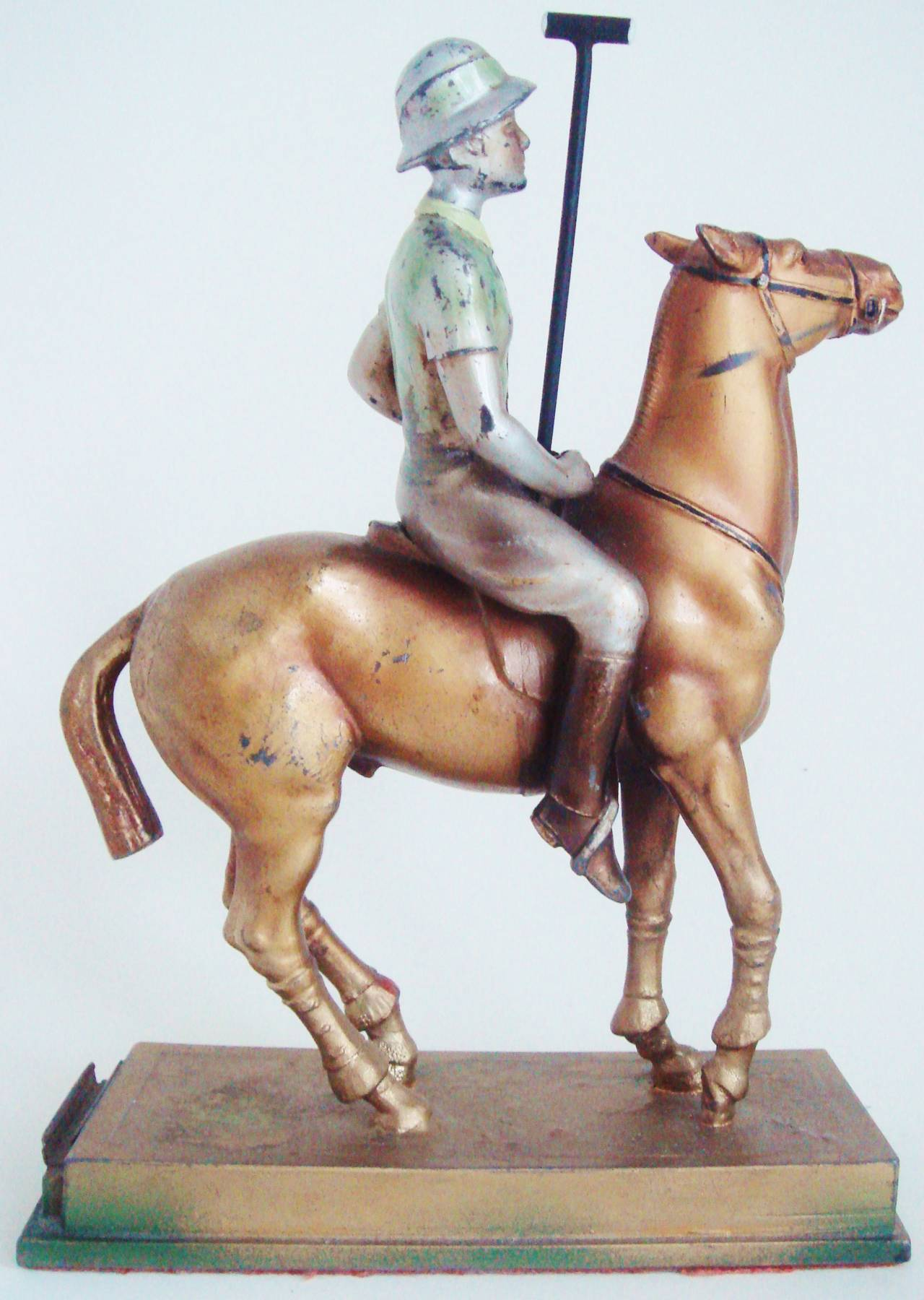 Rare Austrian Art Deco Cold Painted Spelter Polo Player Table Striker Lighter For Sale 1