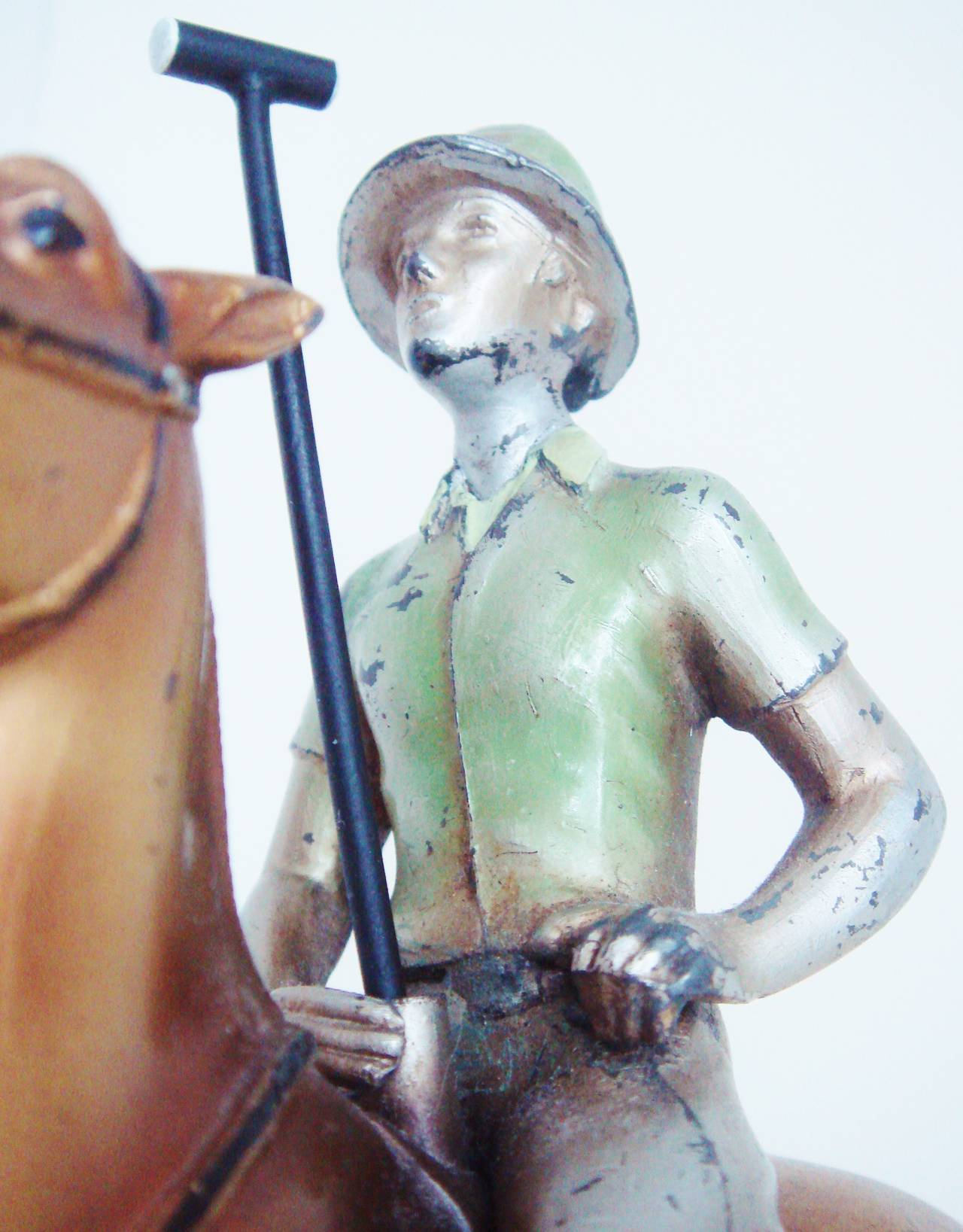 Cold-Painted Rare Austrian Art Deco Cold Painted Spelter Polo Player Table Striker Lighter For Sale