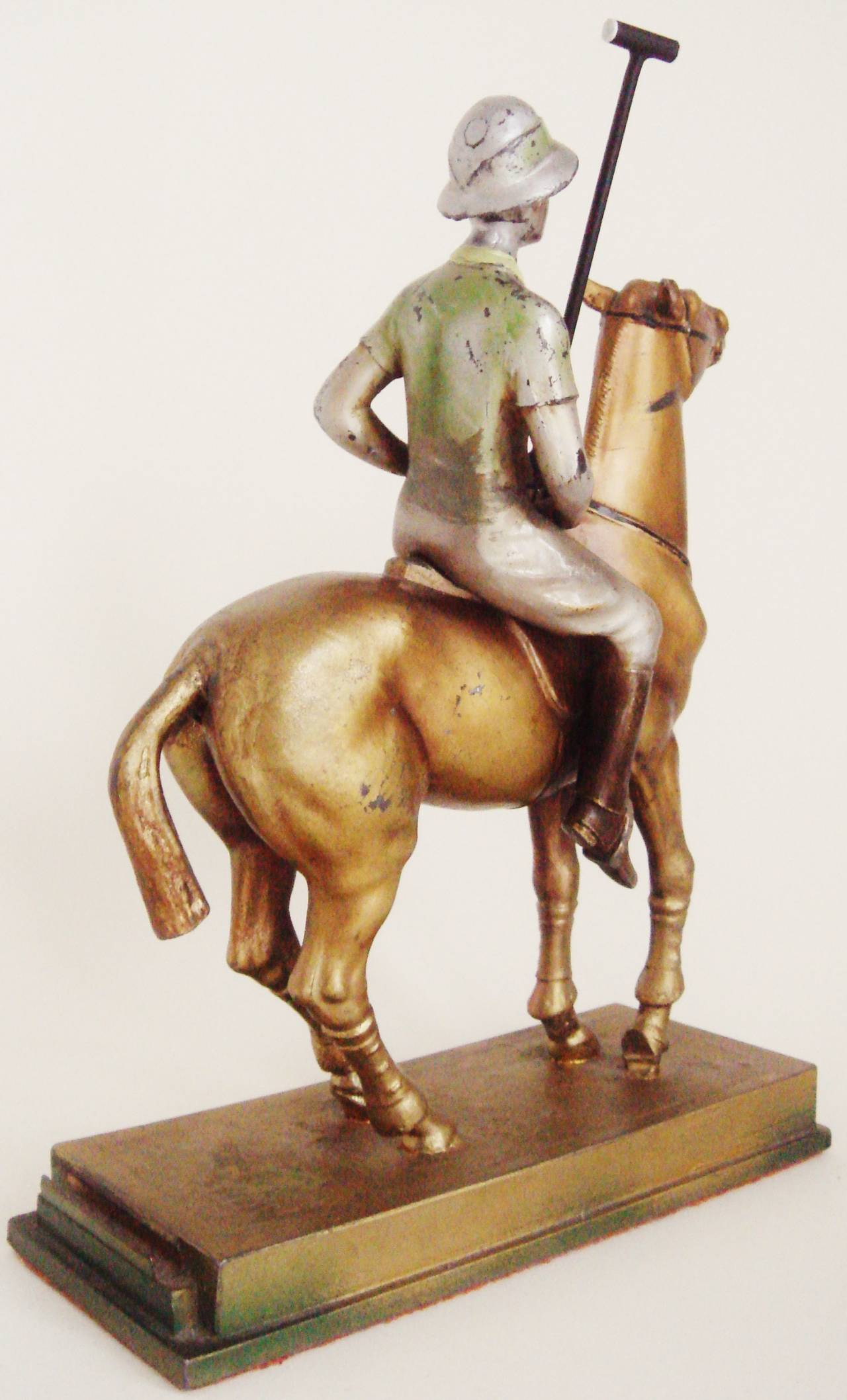 Rare Austrian Art Deco Cold Painted Spelter Polo Player Table Striker Lighter For Sale 2